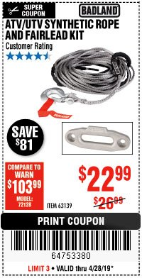 Harbor Freight Coupon ATV/UTV SYNTHETIC ROPE AND FAIRLEAD KIT 63139 Lot No. 63139 Expired: 4/28/19 - $22.99
