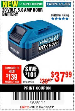 Harbor Freight Coupon HERCULES 20 VOLT, 5.0 AMP HOUR BATTERY Lot No. 63378 Expired: 10/6/19 - $37.99