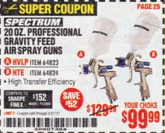 Harbor Freight Coupon SPECTRUM 20 OZ. PROFESSIONAL GRAVITY FEED AIR SPRAY GUNS (HVLP/HTE) Lot No. 64823/64824 Expired: 5/31/19 - $99.99