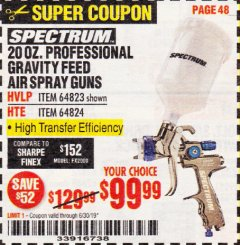 Harbor Freight Coupon SPECTRUM 20 OZ. PROFESSIONAL GRAVITY FEED AIR SPRAY GUNS (HVLP/HTE) Lot No. 64823/64824 Expired: 6/30/19 - $99.99