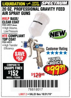 Harbor Freight Coupon SPECTRUM 20 OZ. PROFESSIONAL GRAVITY FEED AIR SPRAY GUNS (HVLP/HTE) Lot No. 64823/64824 Expired: 10/31/19 - $99.99
