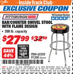 Harbor Freight ITC Coupon FLAME DESIGN BAR/COUNTER SWIVEL STOOL Lot No. 62202/91200 Dates Valid: 2/1/19 - 2/28/19 - $27.99