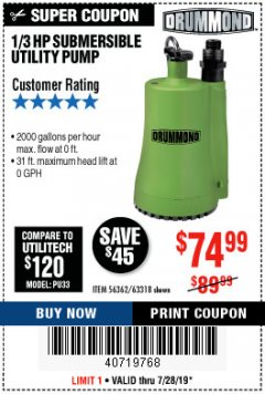 Harbor Freight Coupon 1/3 HP SUBMERSIBLE UTILITY PUMP Lot No. 56362/63318 Valid Thru: 7/28/19 - $74.99