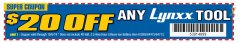 Harbor Freight Coupon $20 OFF ANY LYNX TOOL Lot No. 63285/64475/64713 Expired: 10/6/19 - $0