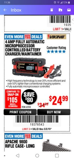 Harbor Freight Coupon 4 AMP FULLY AUTOMATIC MICROPROCESSOR CONTROLLED BATTERY CHARGER/MAINTAINER Lot No. 63350 Expired: 5/12/19 - $24.99