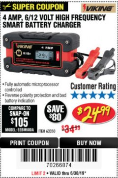 Harbor Freight Coupon 4 AMP FULLY AUTOMATIC MICROPROCESSOR CONTROLLED BATTERY CHARGER/MAINTAINER Lot No. 63350 Expired: 6/30/19 - $24.99