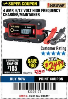 Harbor Freight Coupon 4 AMP FULLY AUTOMATIC MICROPROCESSOR CONTROLLED BATTERY CHARGER/MAINTAINER Lot No. 63350 Expired: 9/30/19 - $24.99