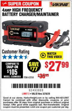 Harbor Freight Coupon 4 AMP FULLY AUTOMATIC MICROPROCESSOR CONTROLLED BATTERY CHARGER/MAINTAINER Lot No. 63350 Expired: 3/29/20 - $27.99
