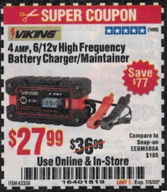 Harbor Freight Coupon 4 AMP FULLY AUTOMATIC MICROPROCESSOR CONTROLLED BATTERY CHARGER/MAINTAINER Lot No. 63350 Expired: 7/5/20 - $27.99