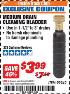 Harbor Freight ITC Coupon MEDIUM DRAIN CLEANING BLADDER Lot No. 99942 Expired: 6/30/20 - $3.99