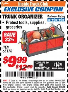 Harbor Freight ITC Coupon TRUNK ORGANIZER Lot No. 65178 Expired: 6/30/18 - $9.99
