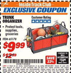 Harbor Freight ITC Coupon TRUNK ORGANIZER Lot No. 65178 Expired: 8/31/18 - $9.99