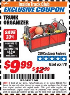 Harbor Freight ITC Coupon TRUNK ORGANIZER Lot No. 65178 Expired: 12/31/18 - $9.99