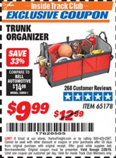 Harbor Freight ITC Coupon TRUNK ORGANIZER Lot No. 65178 Dates Valid: 12/31/69 - 2/28/19 - $9.99