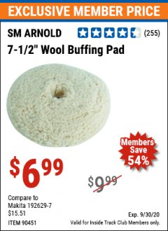 Harbor Freight ITC Coupon 7-1/2 IN WOOL BUFFING PAD Lot No. 90451 Valid Thru: 9/30/20 - $6.99