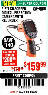 "Harbor Freight Coupon 3.5"" DIGITAL INSPECTION CAMERA WITH RECORDER Lot No. 64170 Expired: 6/23/19 - $159.99"