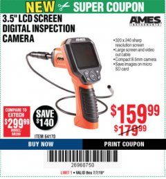 "Harbor Freight Coupon 3.5"" DIGITAL INSPECTION CAMERA WITH RECORDER Lot No. 64170 Expired: 7/7/19 - $159.99"