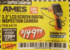 "Harbor Freight Coupon 3.5"" DIGITAL INSPECTION CAMERA WITH RECORDER Lot No. 64170 Expired: 2/27/20 - $149.99"