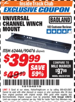 Harbor Freight ITC Coupon UNIVERSAL CHANNEL WINCH MOUNT Lot No. 62446/90476 Expired: 4/30/19 - $39.99