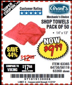 Harbor Freight Coupon SHOP TOWELS, PACK OF 50 Lot No. 63365 Expired: 11/2/19 - $9.99