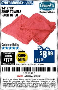 Harbor Freight Coupon SHOP TOWELS, PACK OF 50 Lot No. 63365 Expired: 12/1/19 - $8.99