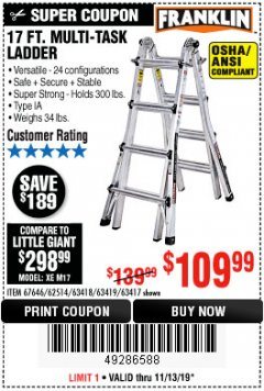 Harbor Freight Coupon 17 FT. MULTI-TASK LADDER Lot No. 67646/62514/63418/63419/63417 Expired: 11/13/19 - $109.99
