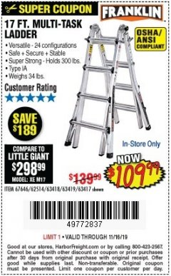 Harbor Freight Coupon 17 FT. MULTI-TASK LADDER Lot No. 67646/62514/63418/63419/63417 Expired: 11/16/19 - $109.99