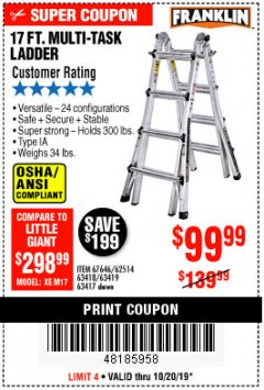Harbor Freight Coupon 17 FT. MULTI-TASK LADDER Lot No. 67646/62514/63418/63419/63417 Expired: 10/20/19 - $99.99