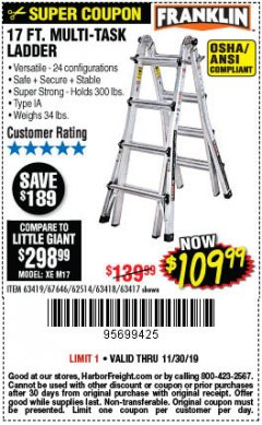 Harbor Freight Coupon 17 FT. MULTI-TASK LADDER Lot No. 67646/62514/63418/63419/63417 Expired: 11/30/19 - $109.99