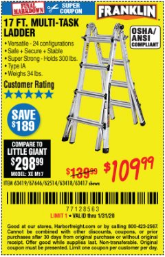 Harbor Freight Coupon 17 FT. MULTI-TASK LADDER Lot No. 67646/62514/63418/63419/63417 Expired: 1/31/20 - $109.99