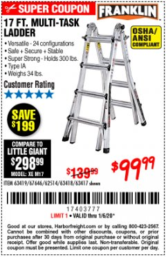 Harbor Freight Coupon 17 FT. MULTI-TASK LADDER Lot No. 67646/62514/63418/63419/63417 Expired: 1/6/20 - $99.99