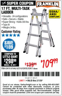 Harbor Freight Coupon 17 FT. MULTI-TASK LADDER Lot No. 67646/62514/63418/63419/63417 Expired: 2/7/20 - $109.99