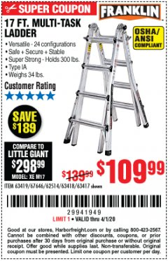 Harbor Freight Coupon 17 FT. MULTI-TASK LADDER Lot No. 67646/62514/63418/63419/63417 Expired: 4/1/20 - $109.99