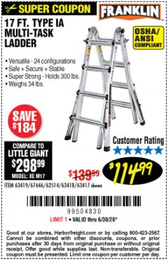 Harbor Freight Coupon 17 FT. MULTI-TASK LADDER Lot No. 67646/62514/63418/63419/63417 Valid Thru: 6/30/20 - $114.99