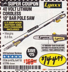 "Harbor Freight Coupon 10"" BAR POLE SAW Lot No. 64476/64718/63286 Expired: 6/30/19 - $144.99"