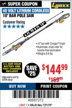 "Harbor Freight Coupon 10"" BAR POLE SAW Lot No. 64476/64718/63286 Expired: 7/21/19 - $144.99"