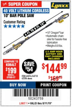 "Harbor Freight Coupon 10"" BAR POLE SAW Lot No. 64476/64718/63286 Expired: 8/11/19 - $144.99"