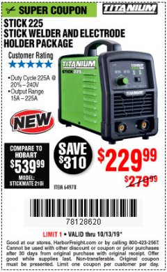 Harbor Freight Coupon TITANIUM STICK 225 INVERTER WELDER WITH ELECTRODE HOLDER Lot No. 64978 Expired: 10/31/19 - $229.99