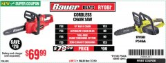 "Harbor Freight Coupon BAUER 20 VOLT LITHIUM CORDLESS 10"" CHAIN SAW Lot No. 64940 Expired: 7/7/19 - $69.99"