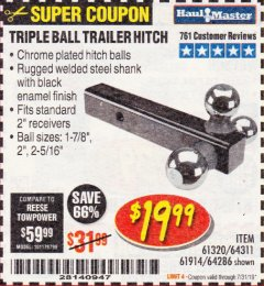 Harbor Freight Coupon HAUL MASTER TRIPLE BALL HITCH Lot No. 61914 61320 64311 64286 Expired: 7/31/19 - $19.99