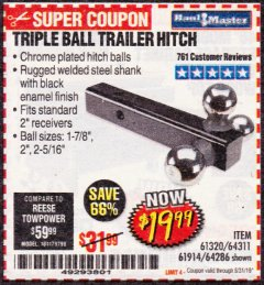 Harbor Freight Coupon HAUL MASTER TRIPLE BALL HITCH Lot No. 61914 61320 64311 64286 Valid Thru: 8/31/19 - $19.99