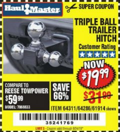 Harbor Freight Coupon HAUL MASTER TRIPLE BALL HITCH Lot No. 61914 61320 64311 64286 Valid Thru: 9/24/19 - $19.99