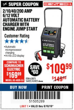 Harbor Freight Coupon CEN-TECH 2/10/40/200 AMP 6/12 VOLT AUTOMATIC BATTERY CHARGER WITH ENGINE JUMP START Lot No. 63423/56422/63873 Expired: 8/18/19 - $109.99