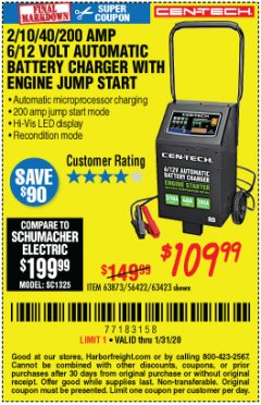 Harbor Freight Coupon CEN-TECH 2/10/40/200 AMP 6/12 VOLT AUTOMATIC BATTERY CHARGER WITH ENGINE JUMP START Lot No. 63423/56422/63873 Expired: 1/31/20 - $109.99