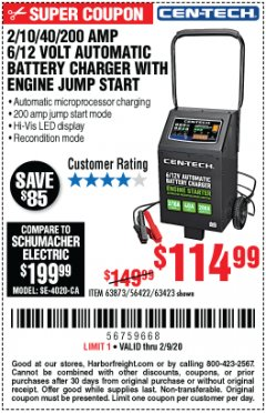 Harbor Freight Coupon CEN-TECH 2/10/40/200 AMP 6/12 VOLT AUTOMATIC BATTERY CHARGER WITH ENGINE JUMP START Lot No. 63423/56422/63873 Expired: 2/9/20 - $114.99