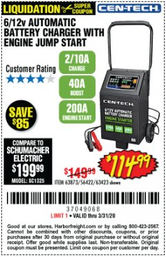 Harbor Freight Coupon CEN-TECH 2/10/40/200 AMP 6/12 VOLT AUTOMATIC BATTERY CHARGER WITH ENGINE JUMP START Lot No. 63423/56422/63873 Expired: 3/31/20 - $114.99