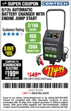 Harbor Freight Coupon CEN-TECH 2/10/40/200 AMP 6/12 VOLT AUTOMATIC BATTERY CHARGER WITH ENGINE JUMP START Lot No. 63423/56422/63873 Expired: 6/30/20 - $114.99
