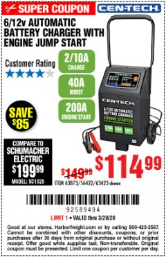 Harbor Freight Coupon CEN-TECH 2/10/40/200 AMP 6/12 VOLT AUTOMATIC BATTERY CHARGER WITH ENGINE JUMP START Lot No. 63423/56422/63873 Expired: 3/29/20 - $114.99