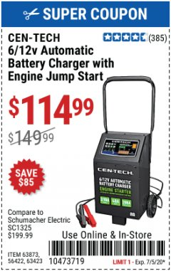 Harbor Freight Coupon CEN-TECH 2/10/40/200 AMP 6/12 VOLT AUTOMATIC BATTERY CHARGER WITH ENGINE JUMP START Lot No. 63423/56422/63873 Expired: 7/5/20 - $114.99