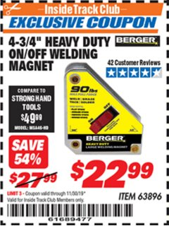 "Harbor Freight ITC Coupon 4 3/4"" HEAVY DUTY ON/OFF WELDING MAGNET Lot No. 63896 Expired: 11/30/19 - $22.99"